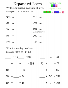 Expanded Form Worksheet