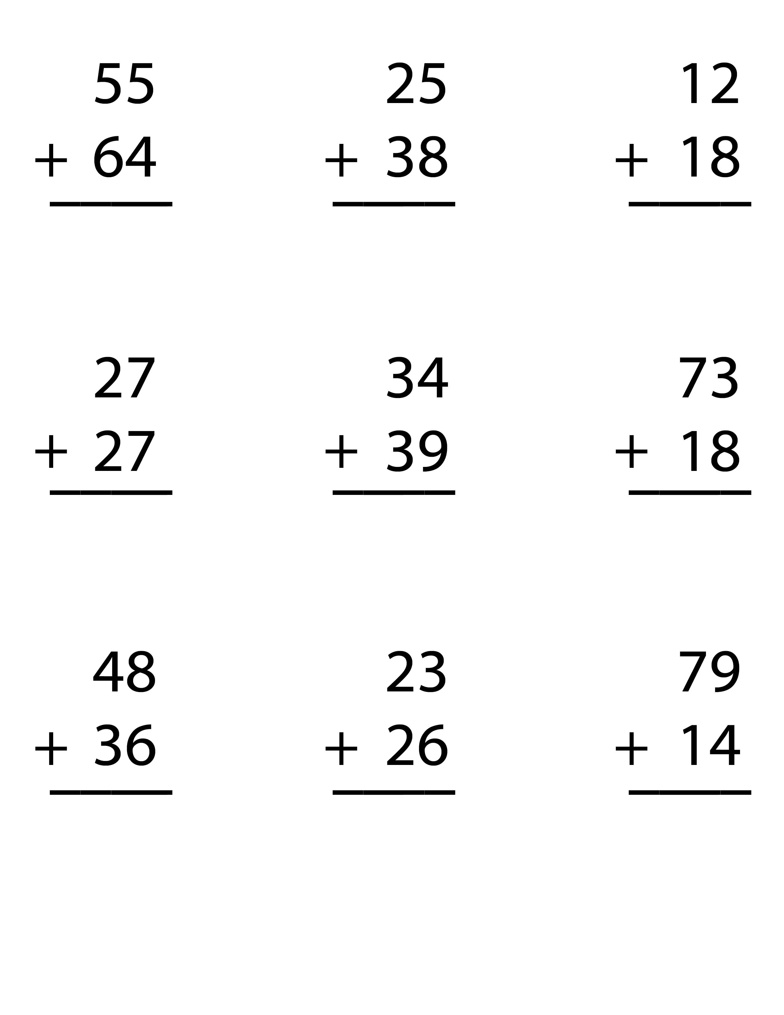 Try our FREE Worksheet for Double Digit Addition Regrouping with – 2nd Grade Addition Worksheet