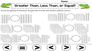 Comparing Numbers Blocks Worksheet