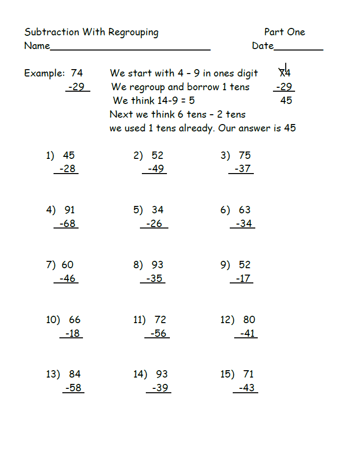 Subtraction Worksheet Download